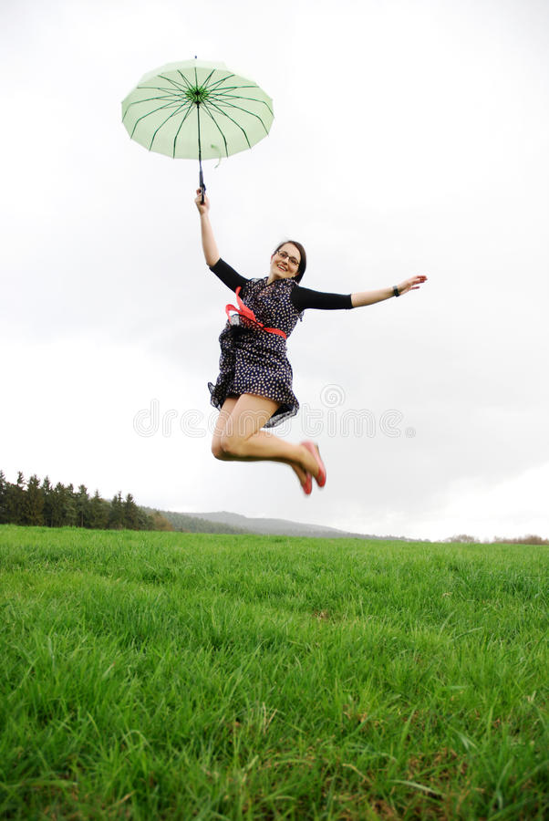 Happy woman outdoors stock photography