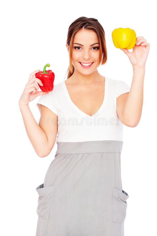 Download Happy Woman With Paprikas Stock Photography - Image: 18034322
