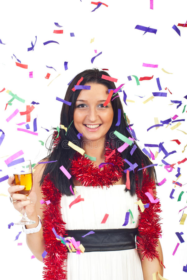 Happy woman at party with confetti. Beauty happy woman celebrate Christmas with confetti and champagne stock images