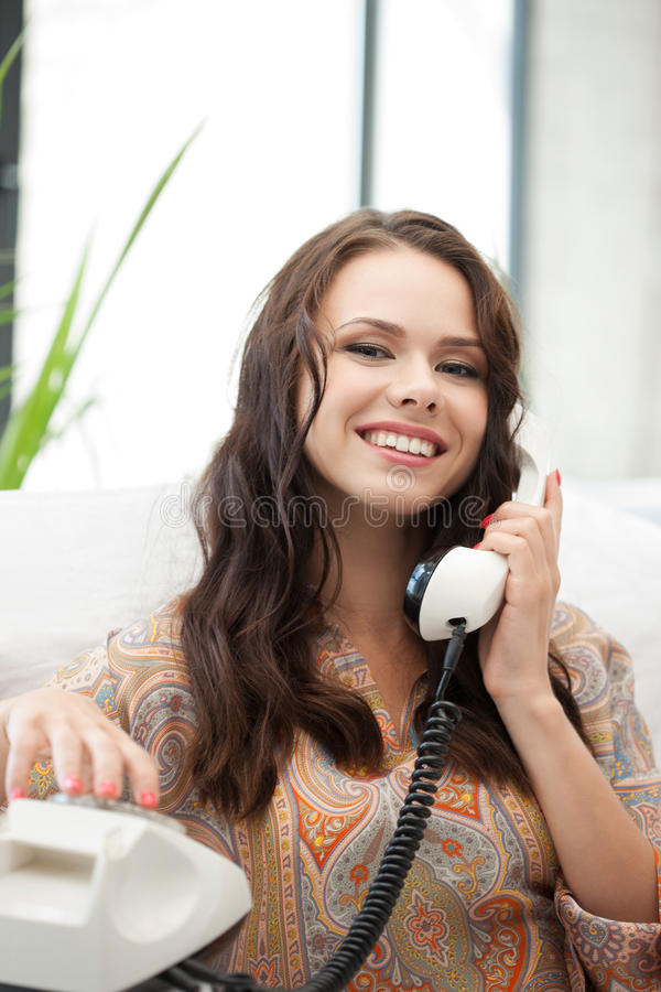 Download Happy woman with phone stock image. Image of happy, cute - 39514611