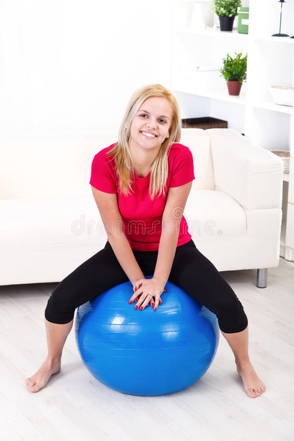 Download Happy Woman In Pilates Ball Stock Photos - Image: 29531673