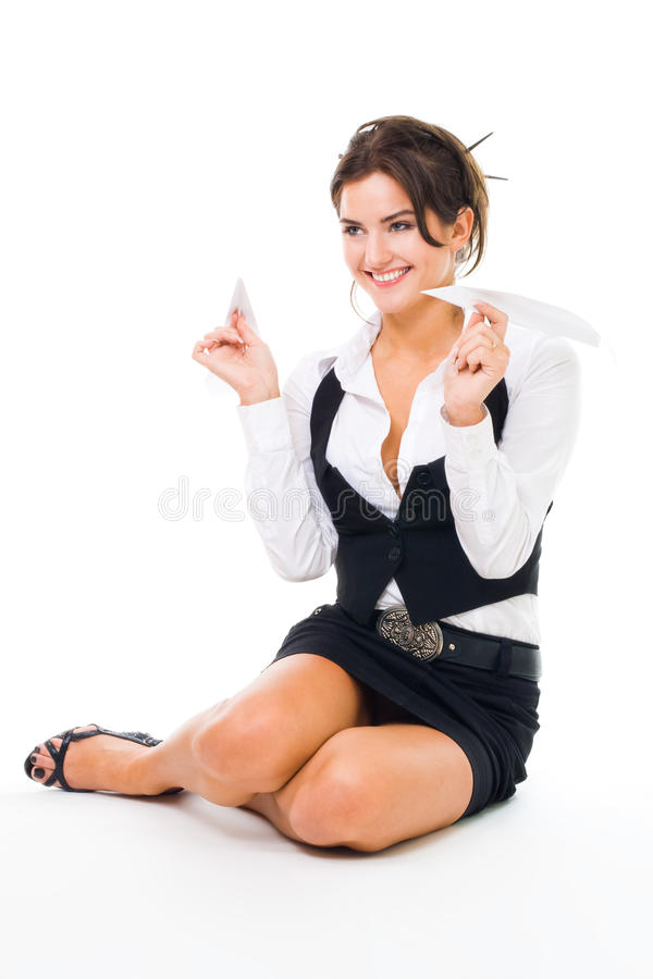 Download Happy Woman Play With Paper Plane Stock Image - Image: 10668079