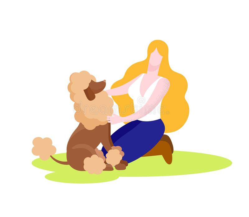 Happy Woman Playing with Poodle Dog Isolated. vector illustration