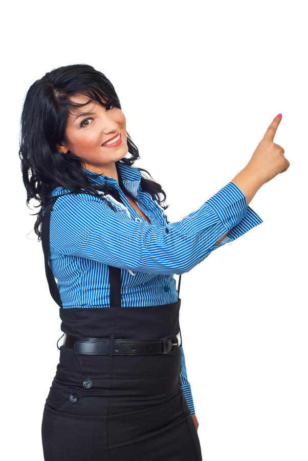 Download Happy  woman pointing stock image. Image of showing, young - 16199517