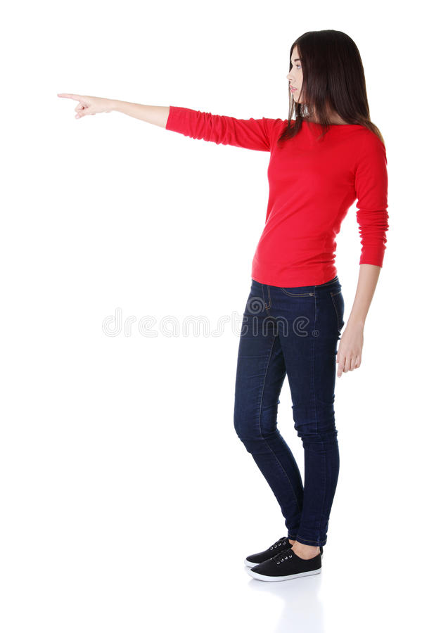 Download Happy Woman Pointing On Copy Space Stock Photo - Image: 28205468
