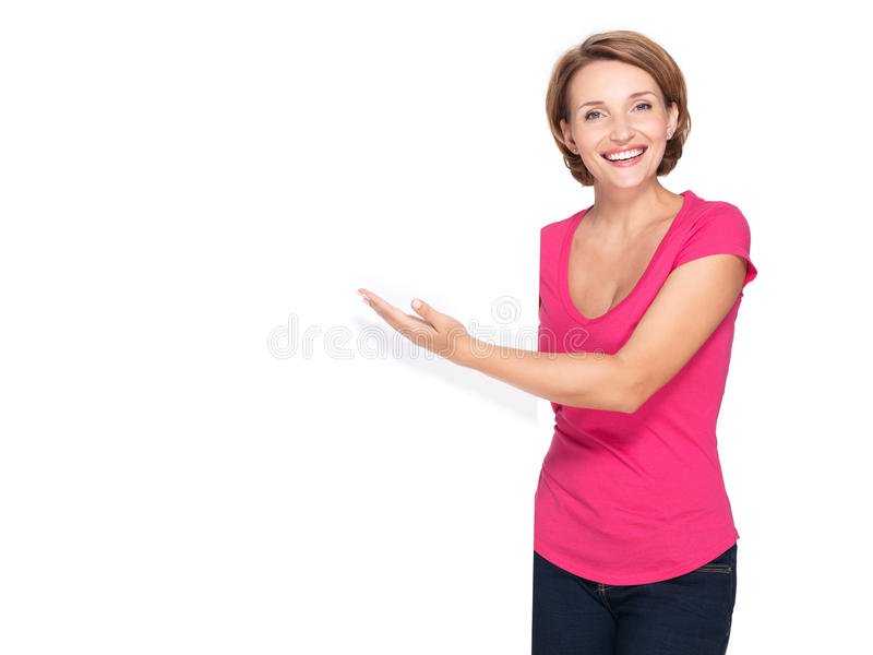 Happy woman pointing with her finger on banner royalty free stock image