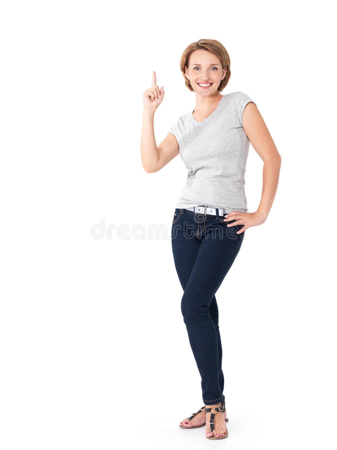 Download Happy Woman Pointing Up With Her Finger Stock Photo - Image: 34710702