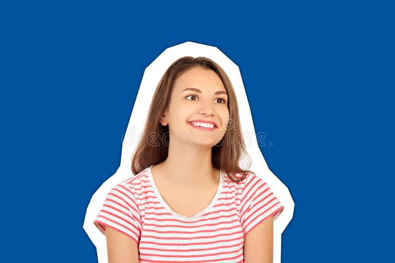 Happy Woman Portrait. Closeup Of Girl With Perfect Smile, White Teeth Smiling At Camera. emotional girl Magazine collage style stock images