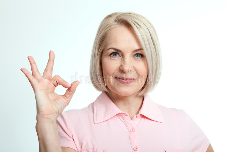 Happy woman portrait. Success. Isolated over white background. royalty free stock photos
