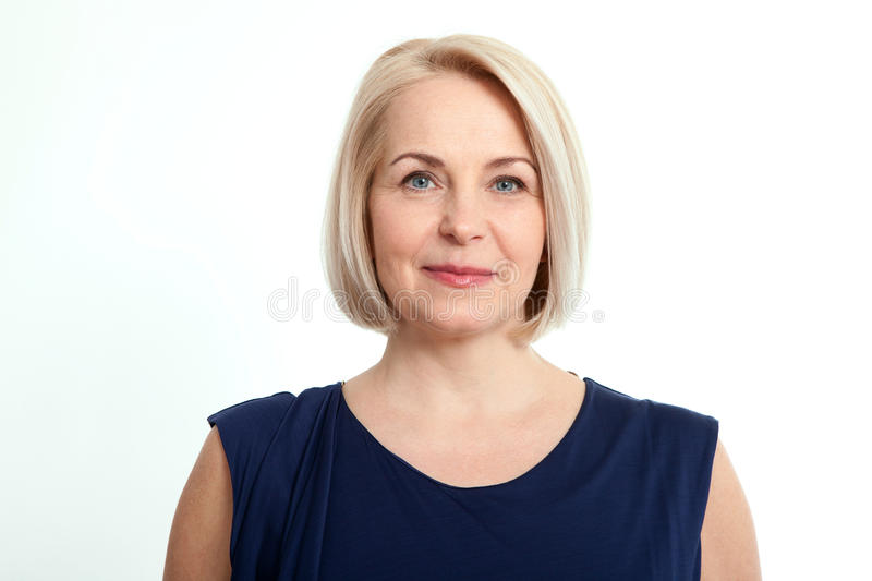 Happy woman portrait. Success. Isolated over white background. stock image