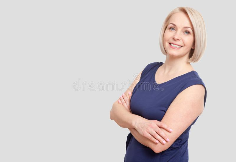 Happy woman portrait. Success. over white background. royalty free stock photography