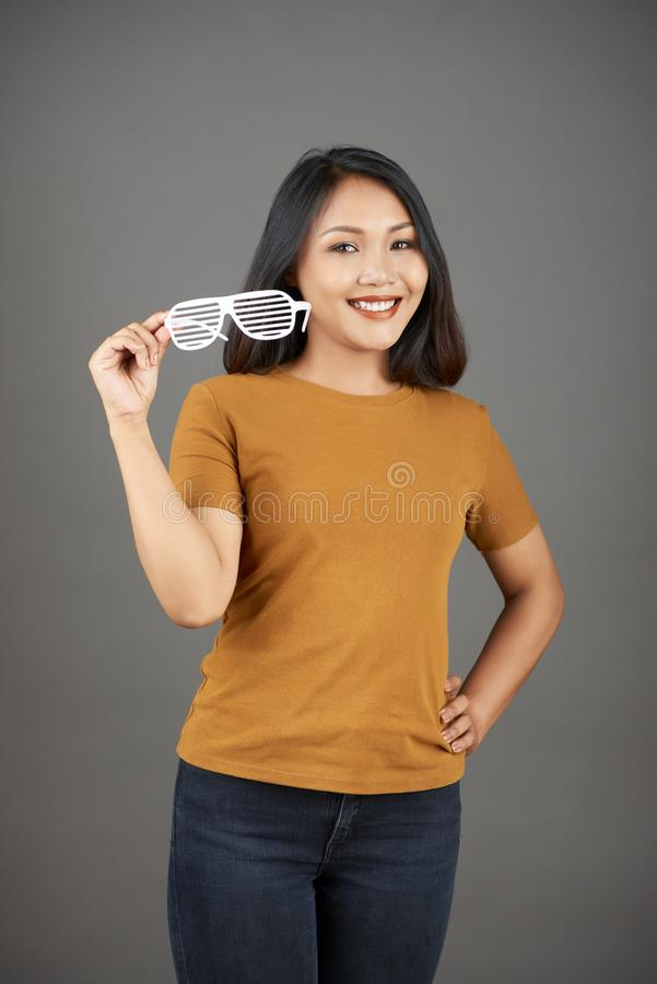 Happy woman posing with shutter glasses stock photos