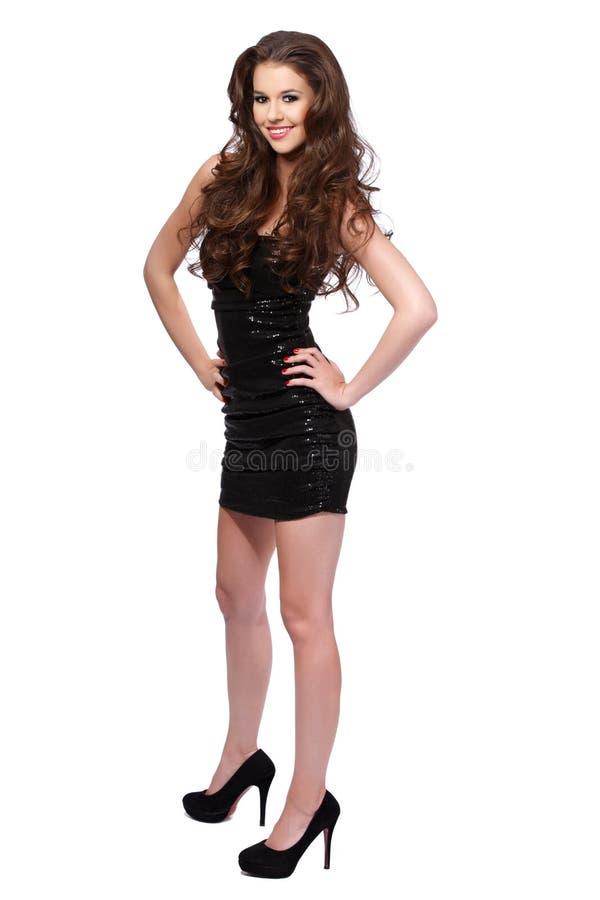 Happy woman posing on white background stock photos