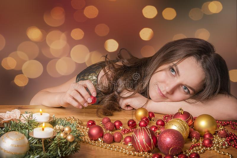 Happy woman preparing for Christmas royalty free stock photo
