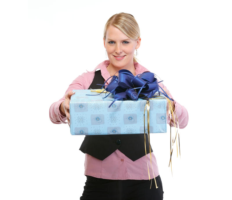 Download Happy Woman Presenting Gift Box Royalty Free Stock Photo - Image: 25261025