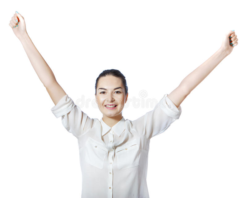 Download Happy Woman With Raised Arms Stock Image - Image: 26919337