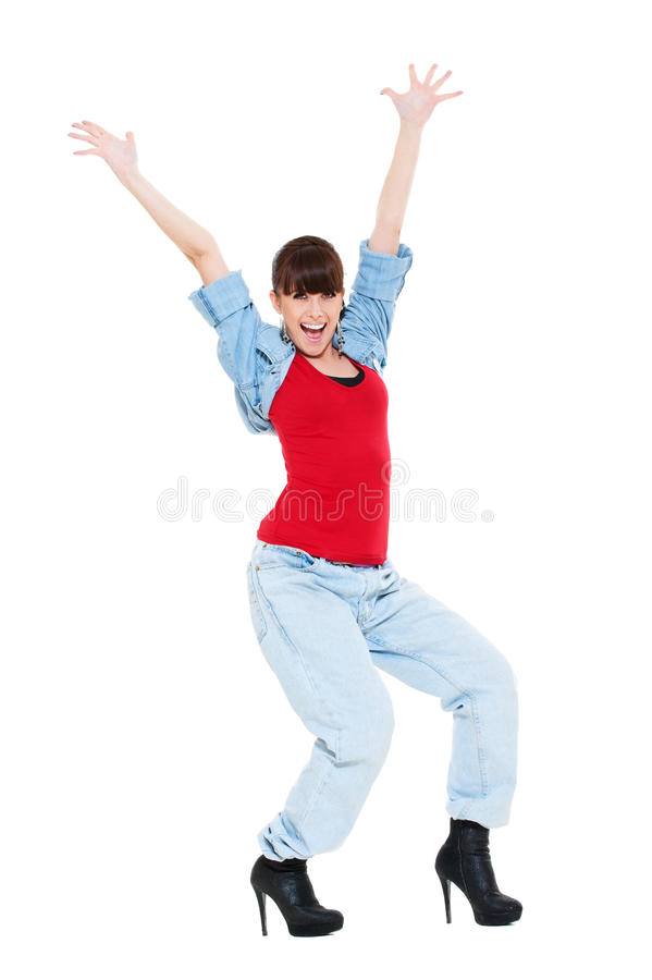 Download Happy Woman Raised Hands Up Stock Image - Image: 19821009
