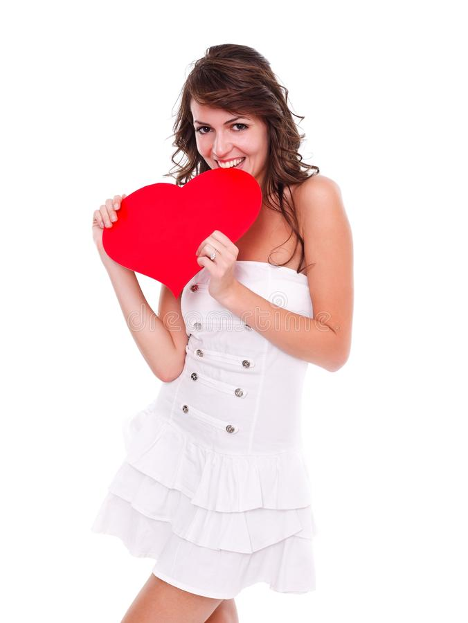 Download Happy Woman With Red Heart Stock Photography - Image: 27592932