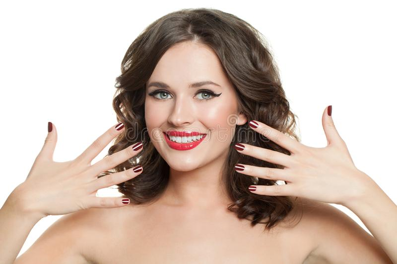 Happy woman with red nails manicure isolated royalty free stock photography