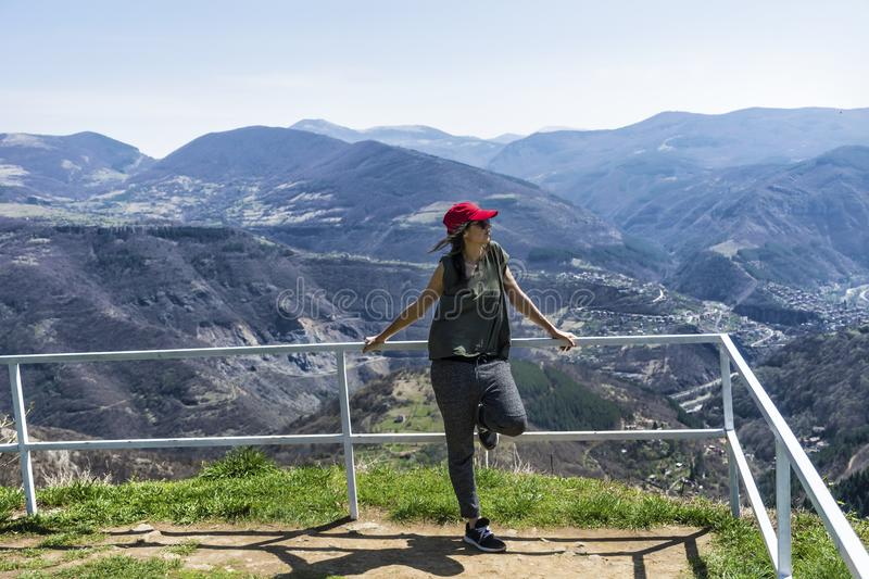 Happy Woman in a High Mountain stock images