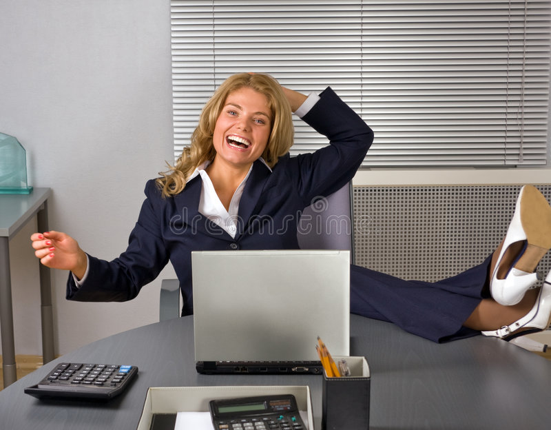 Download Happy Woman Relaxing In Office Stock Image - Image: 7378273