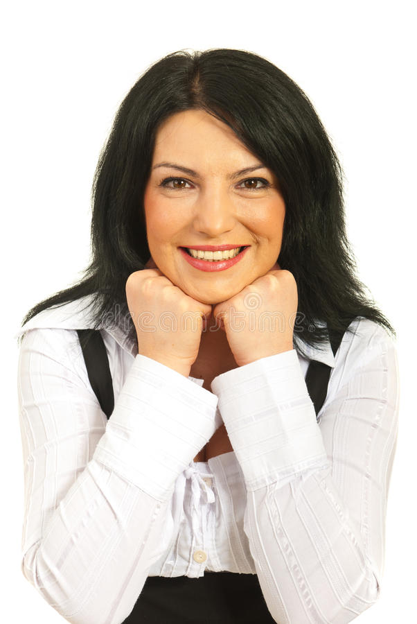 Download Happy Woman Rests On Elbows Stock Image - Image: 23373327
