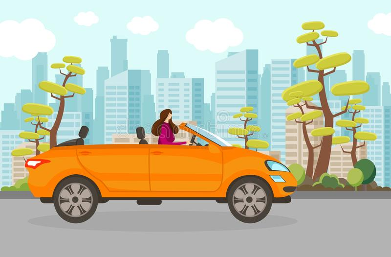 Happy Woman Riding Cabriolet Car in Summer Day. vector illustration