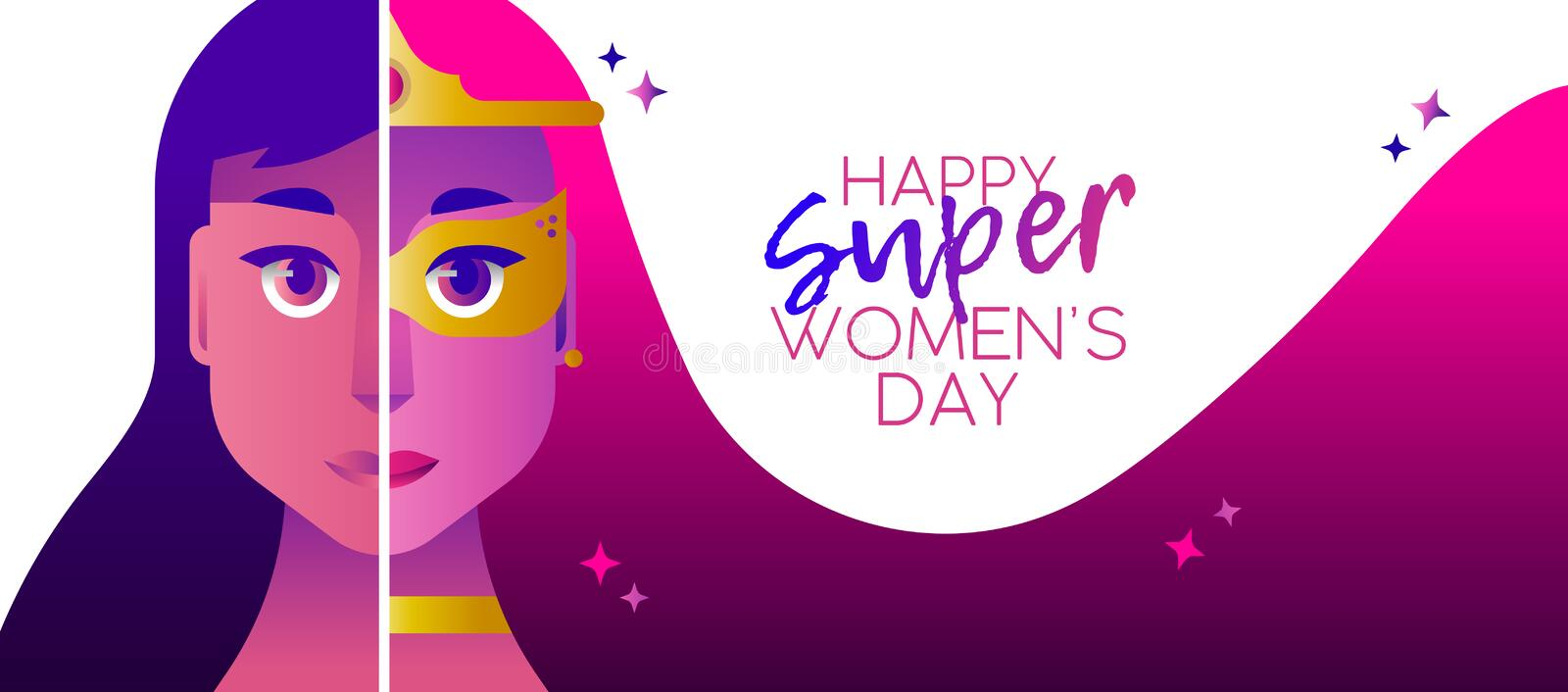 Superhero women`s day 2018 heroine concept banner. Happy Woman`s Day illustration, superhero girl concept with hero woman face costume and celebration typography stock illustration
