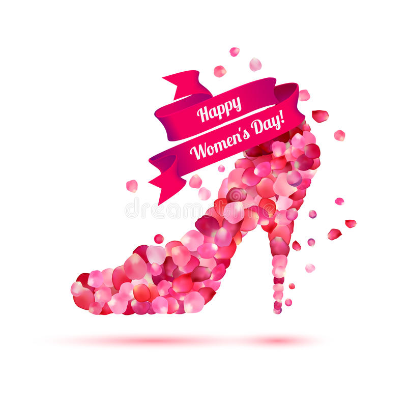 Happy woman`s day! 8 March holiday. High heels shoe. Pink rose petals stock illustration