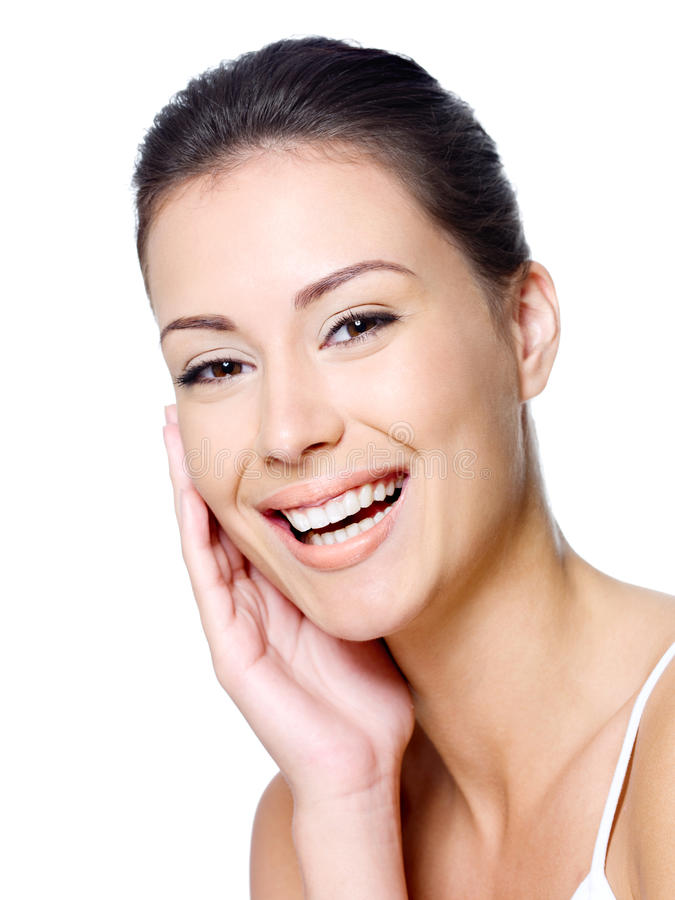 Happy woman s face with clean skin