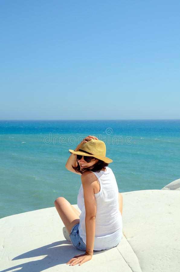 Download Happy Woman At The Sea Side Stock Photo - Image: 25773492