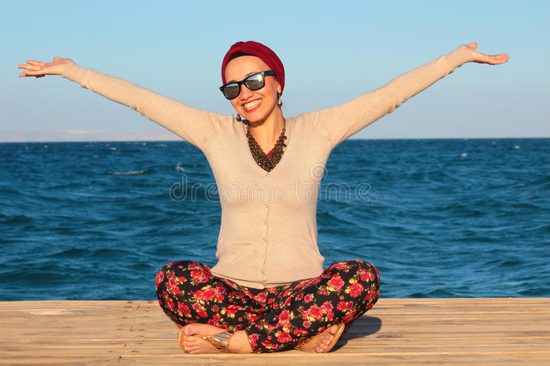 Happy Woman by the Seaside royalty free stock images