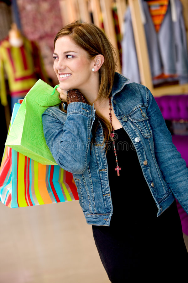 Download Happy woman shopping stock image. Image of attractive - 7292805