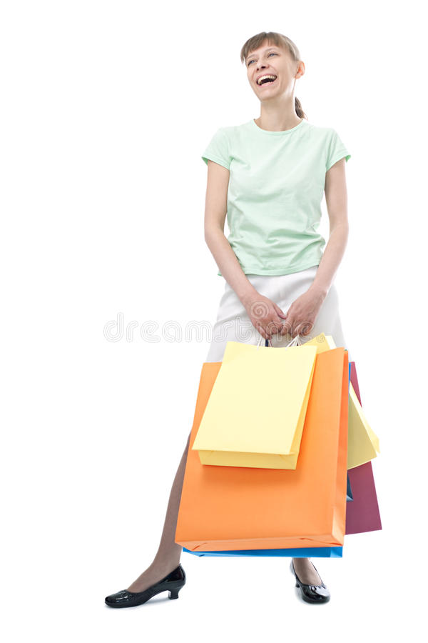 Happy Woman With Shopping Bags Royalty Free Stock Photography