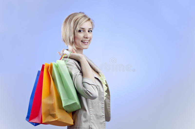 Happy Woman with Shopping Bags stock image