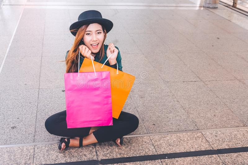 Happy woman with shopping bags enjoying in shopping. women shopping, lifestyle concept royalty free stock photo