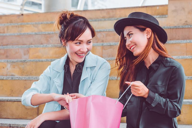 Happy woman with shopping bags enjoying in shopping. women shopping, lifestyle concept royalty free stock images