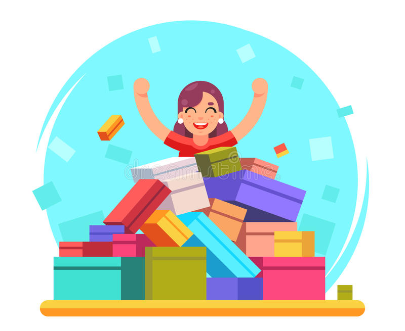 Happy woman shopping pile of goods gifts boxes flat design character vector illustration stock illustration