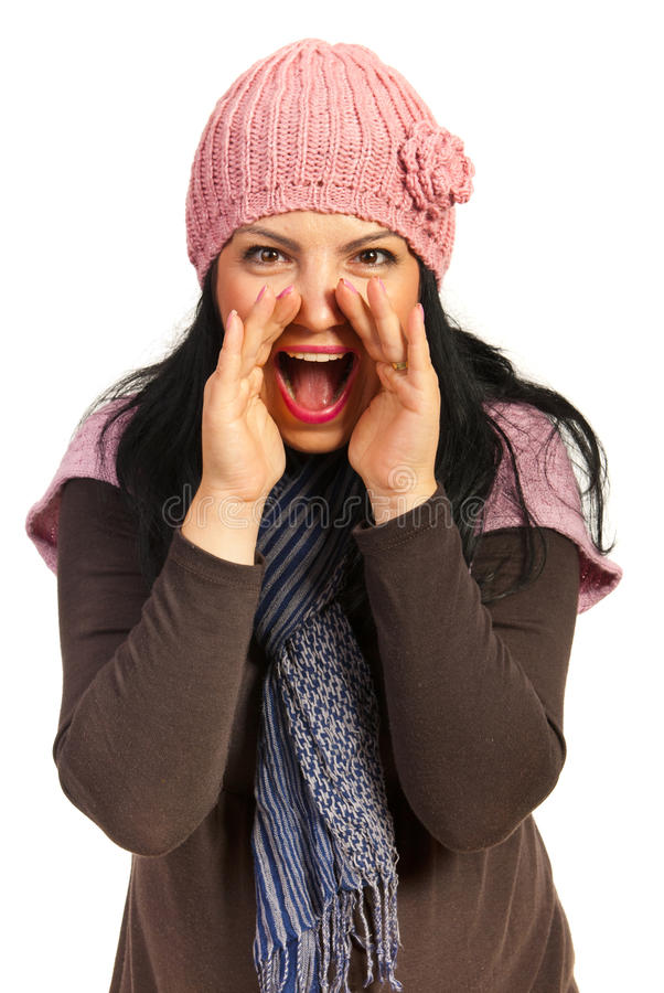 Download Happy woman shouting stock photo. Image of mouth, hands - 27452680