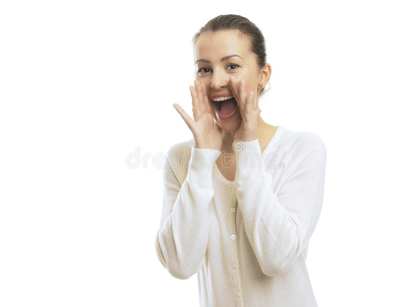 Download Happy woman shouting stock image. Image of cute, background - 30781821