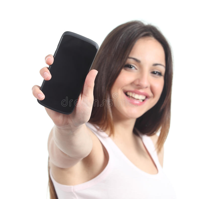 Happy woman showing a black mobile phone screen stock image