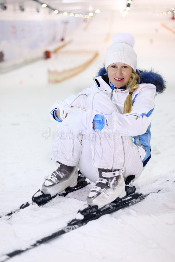Download Happy woman sits on ski stock image. Image of roof, blonde - 22735645