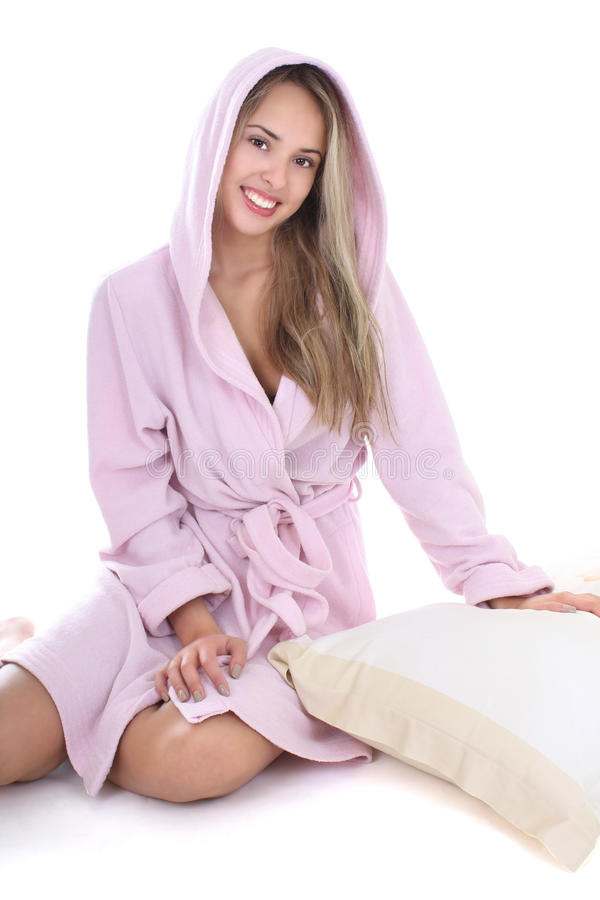 Download Happy Woman Sitting In Bathrobe With Pillow Stock Photo - Image: 16920122