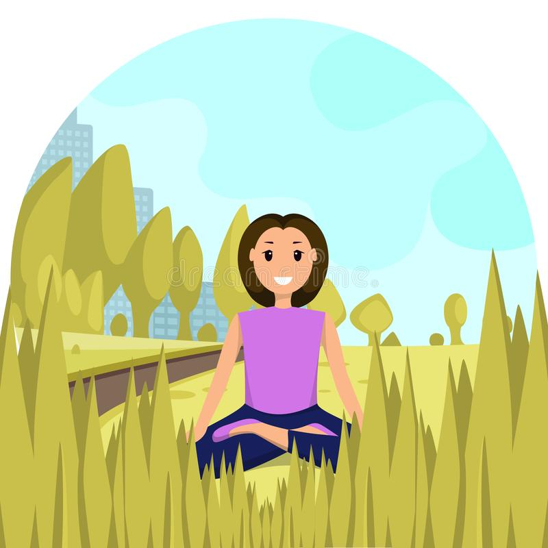 Happy Woman Sitting Lotus Position City Park. Smiling Young Girl Conducts Yoga Workout Outdoor Park against Background Silhouette Metropolis Building. Healthy stock illustration