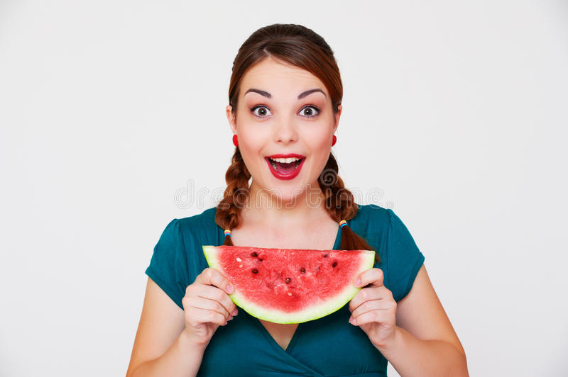 Happy woman with slice of watermelon royalty free stock photos