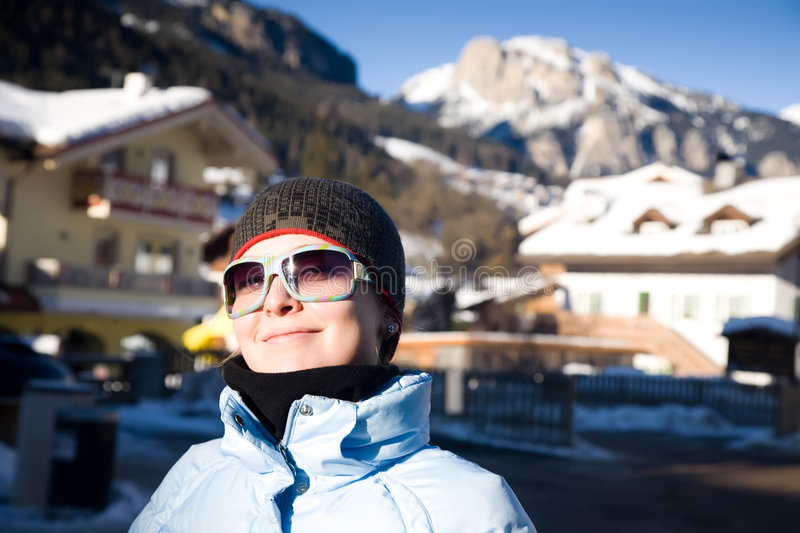 Download Happy Woman In Small Italian Alps Village Stock Photo - Image: 7861256