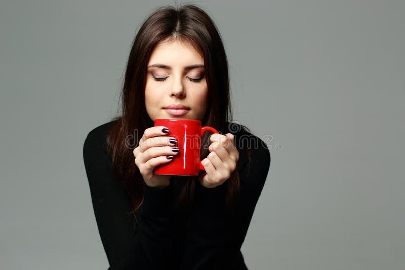 Download Happy Woman Smelling The Aroma Of Coffee Stock Photo - Image: 36136220