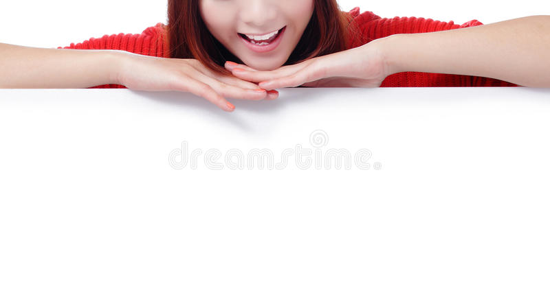 Happy Woman Smile Mouth With Blank Billboard Royalty Free Stock Photos