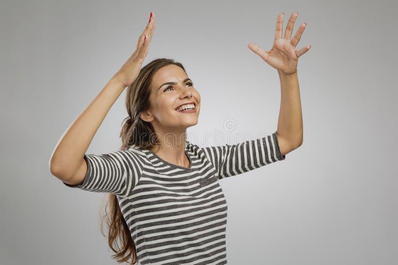 Happy woman smiling stock photo