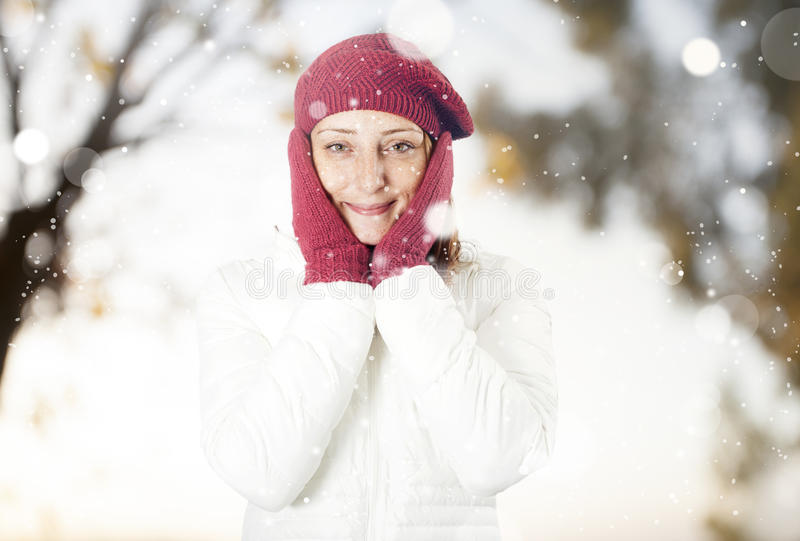 Happy woman in the snow stock image